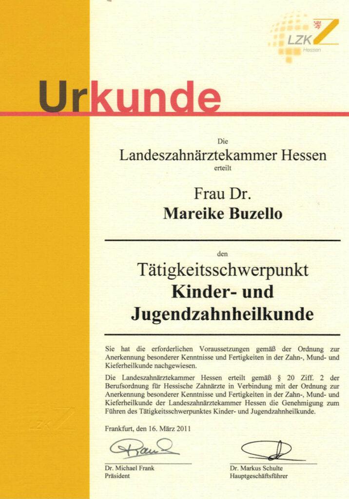Zahnarzt Oberursel Dr Mareike Buzello Zahnärztin Kinder-und_Jugendzahnheilkunde