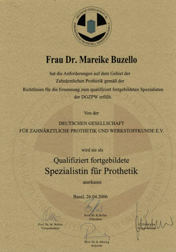 Zahnarzt Oberursel Dr Mareike Buzello Zahnärztin Prothetik